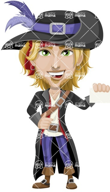 Man with Pirate Costume Cartoon Vector Character AKA Captain Jerad - Sign 1