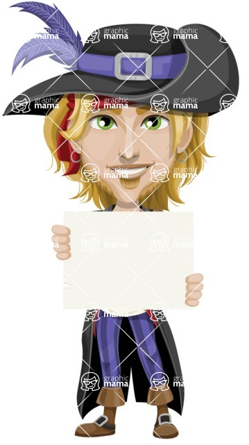 Man with Pirate Costume Cartoon Vector Character AKA Captain Jerad - Sign 2
