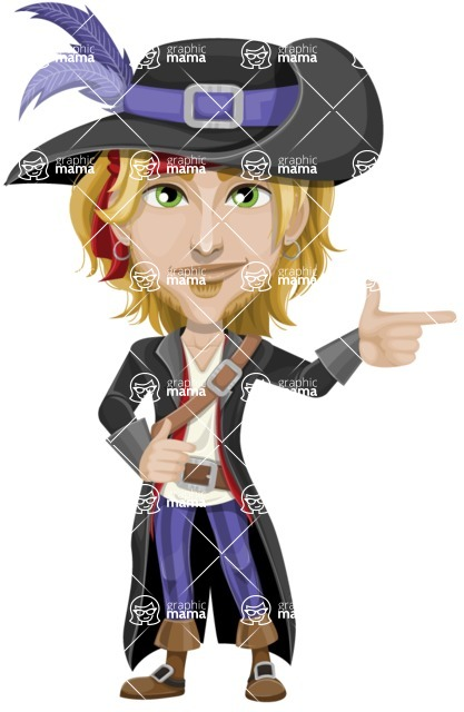 Man with Pirate Costume Cartoon Vector Character AKA Captain Jerad - Point