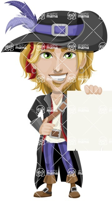 Man with Pirate Costume Cartoon Vector Character AKA Captain Jerad - Sign 3