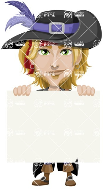 Man with Pirate Costume Cartoon Vector Character AKA Captain Jerad - Sign 5