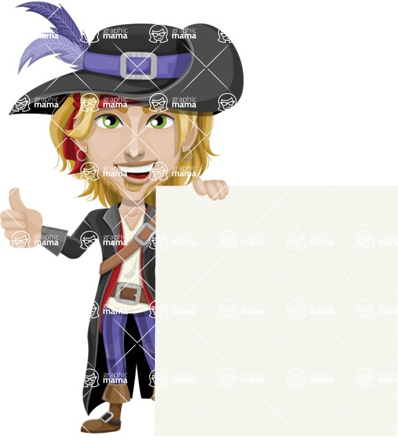 Man with Pirate Costume Cartoon Vector Character AKA Captain Jerad - Sign 7