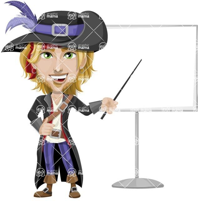 Man with Pirate Costume Cartoon Vector Character AKA Captain Jerad - Presentation 1