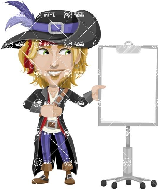 Man with Pirate Costume Cartoon Vector Character AKA Captain Jerad - Presentation 2