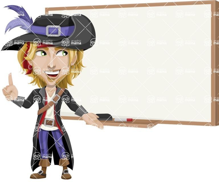 Man with Pirate Costume Cartoon Vector Character AKA Captain Jerad - Presentation 3