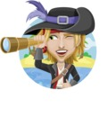 Man with Pirate Costume Cartoon Vector Character AKA Captain Jerad - Shape 1