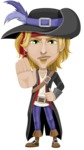 Man with Pirate Costume Cartoon Vector Character AKA Captain Jerad - Stop