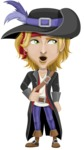Man with Pirate Costume Cartoon Vector Character AKA Captain Jerad - Rolls Eyes