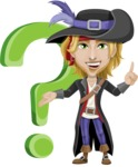 Man with Pirate Costume Cartoon Vector Character AKA Captain Jerad - Question mark