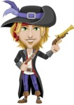Man with Pirate Costume Cartoon Vector Character AKA Captain Jerad - Gun 1