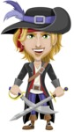 Man with Pirate Costume Cartoon Vector Character AKA Captain Jerad - Sword 2