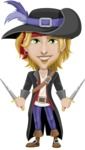 Man with Pirate Costume Cartoon Vector Character AKA Captain Jerad - Daggers