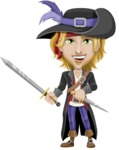 Man with Pirate Costume Cartoon Vector Character AKA Captain Jerad - Sword and Dagger