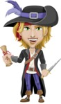 Man with Pirate Costume Cartoon Vector Character AKA Captain Jerad - Map and Dagger