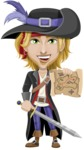 Man with Pirate Costume Cartoon Vector Character AKA Captain Jerad - Sword and Open map
