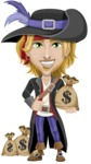 Man with Pirate Costume Cartoon Vector Character AKA Captain Jerad - Bag of money