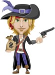 Man with Pirate Costume Cartoon Vector Character AKA Captain Jerad - Bag of money and Gun