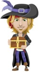 Man with Pirate Costume Cartoon Vector Character AKA Captain Jerad - Treasure chest 1