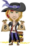 Man with Pirate Costume Cartoon Vector Character AKA Captain Jerad - Treasure chest and bags of money