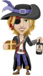 Man with Pirate Costume Cartoon Vector Character AKA Captain Jerad - Treasure chest and Rum