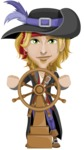 Man with Pirate Costume Cartoon Vector Character AKA Captain Jerad - Ship wheel