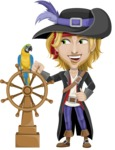 Man with Pirate Costume Cartoon Vector Character AKA Captain Jerad - Ship wheel and Parrot
