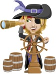 Man with Pirate Costume Cartoon Vector Character AKA Captain Jerad - Ship wheel and Spy glass