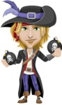 Man with Pirate Costume Cartoon Vector Character AKA Captain Jerad - Bombs