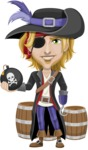Man with Pirate Costume Cartoon Vector Character AKA Captain Jerad - Barrels and Bomb