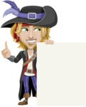 Man with Pirate Costume Cartoon Vector Character AKA Captain Jerad - Sign 8