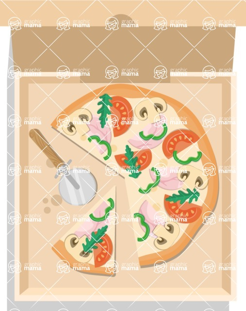 Pizza Time - Pizza in a box with pizza cutter