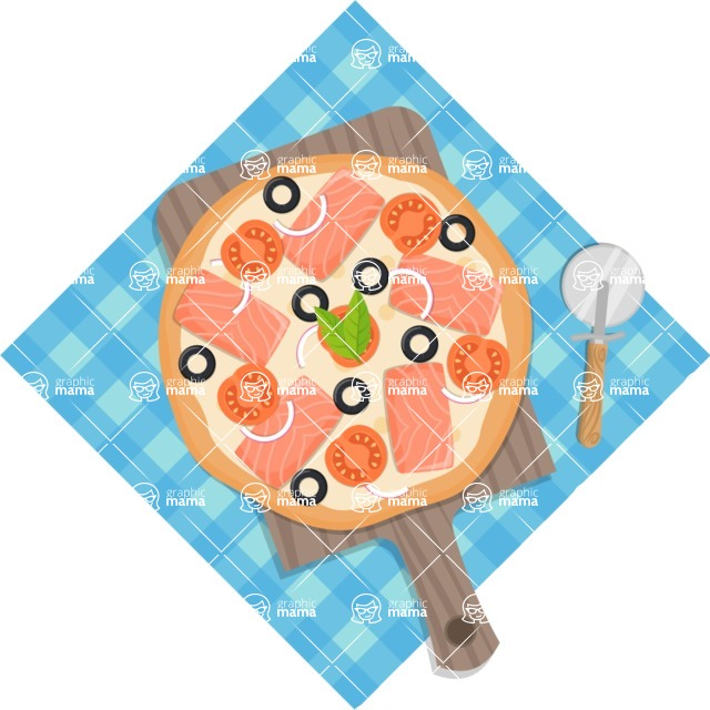Pizza Time - Whole pizza with tablecloth