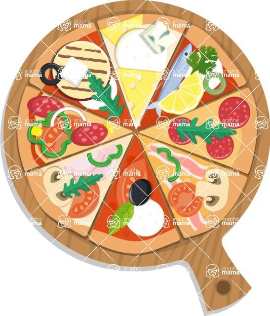 Pizza Time - Assorti pizza on cutting board