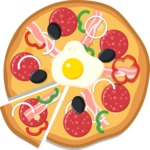 Vector Pizza Graphics Maker - Pizza with egg, bacon, pepperoni and ham