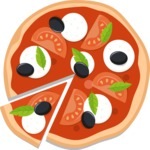Vector Pizza Graphics Maker - Pizza with mozzarella, olives and tomatoes