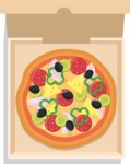 Vector Pizza Graphics Maker - Pepperoni pizza in box