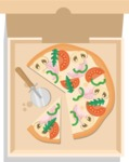 Vector Pizza Graphics Maker - Pizza in a box with pizza cutter