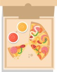 Vector Pizza Graphics Maker - Eating pizza from a  box