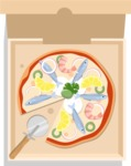 Vector Pizza Graphics Maker - Seafood pizza in a box with cutter
