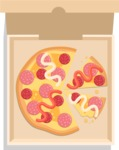 Vector Pizza Graphics Maker - Pizza with sausage in box