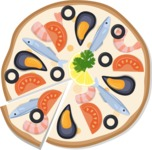 Vector Pizza Graphics Maker - Pizza with sea food