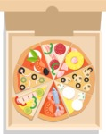 Vector Pizza Graphics Maker - Assorti pizza in box