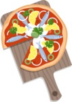 Vector Pizza Graphics Maker - Seafood pizza on cutting board
