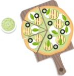 Vector Pizza Graphics Maker - Pizza with guacamole