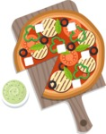 Vector Pizza Graphics Maker - Pizza with guacamole and grilled cheese
