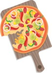 Pizza Time - Spicy pizza on wooden cutting board