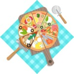 Vector Pizza Graphics Maker - Assorti pizza and tablecloth