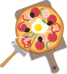 Vector Pizza Graphics Maker - Pizza with egg on cutting board