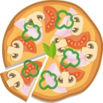 Vector Pizza Graphics Maker - Pizza with mushrooms, ham and pepper