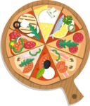 Vector Pizza Graphics Maker - Assorti pizza on cutting board